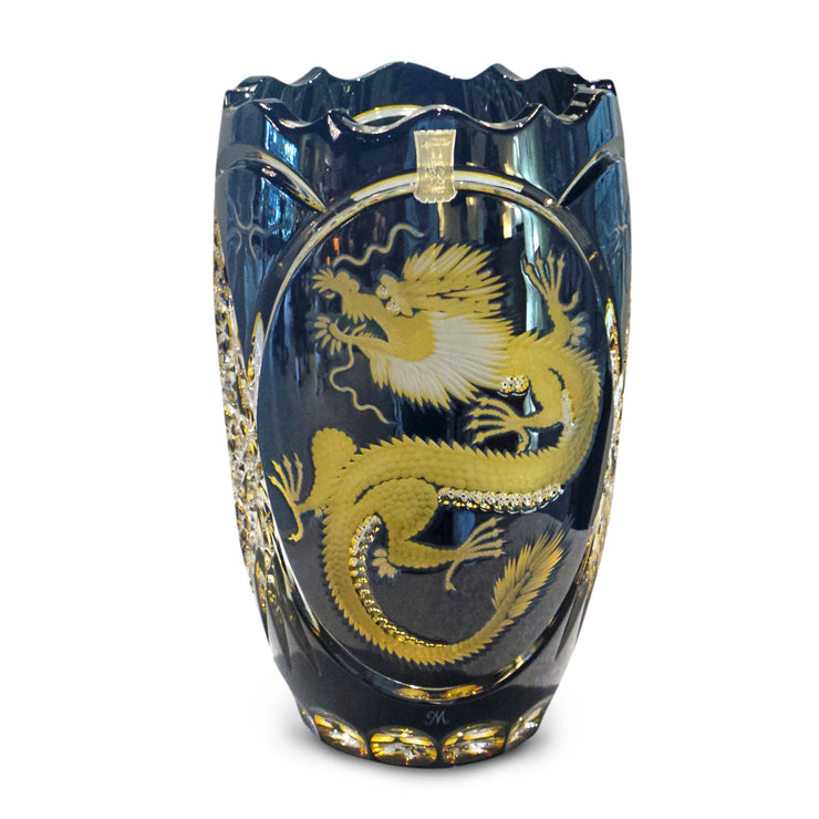 "Blue/Amber Dragon Vase Special Edition ""65 Years Meissen Lead Crystal"" 10"" High"