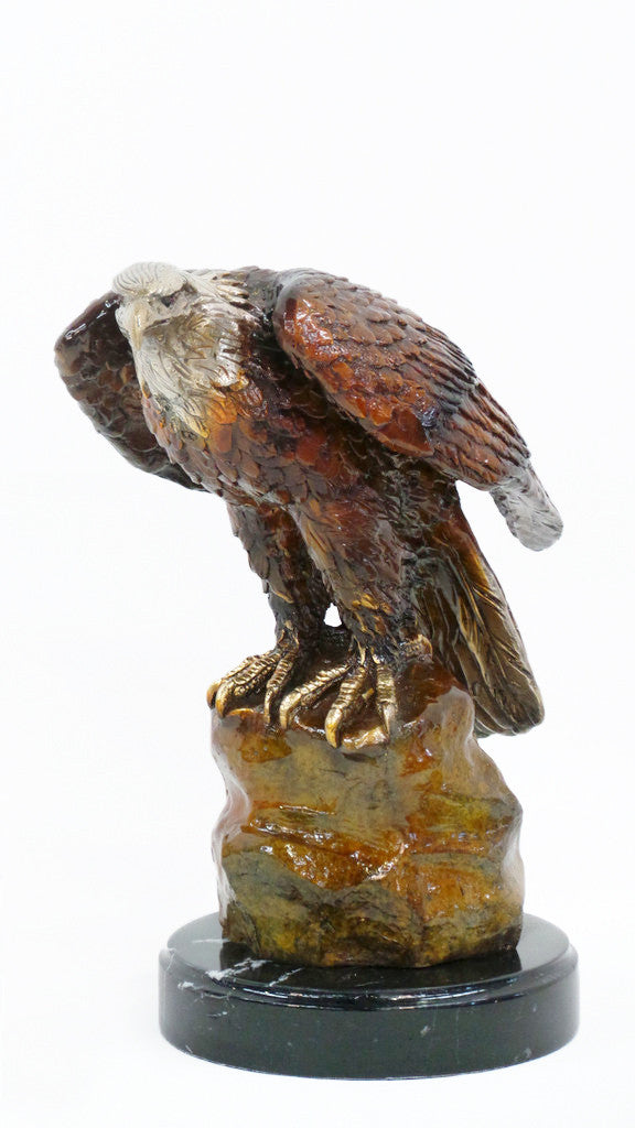 "Eagle on Rock on Marble Base - Special Patina 15""L x 9""W x 15""H"