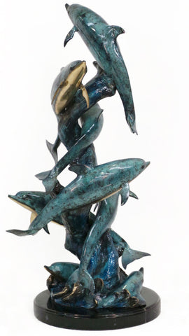 "Eight Dolphins on Marble Base - Special Patina 18""L x 17""W x 37""H"