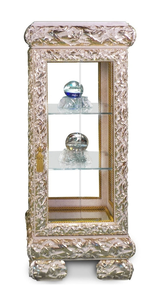 "Wooden Display Cabinet Gold/Ivory 16""L x 16""W x 39""H"