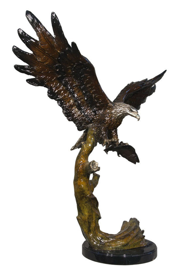 "Flying Eagle on Tree on Marble Base - Special Patina 32""L x 17""W x 33""H"