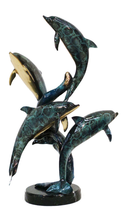 "Four Dolphins on Marble Base - Special Patina 18.5""L x 17""W x 29""H"