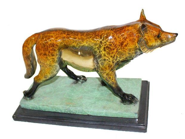 "Fox Standing on Marble Base - Special Patina 21""L x 7.5""W x 12.5""H"