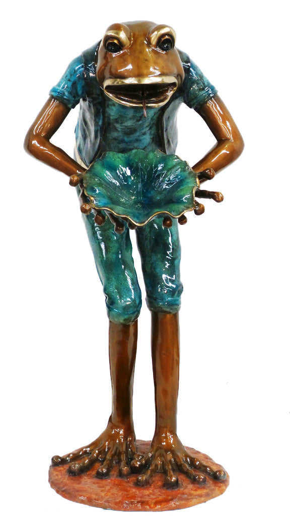 "Frog Carrying Lotus Fountain - Special Patina 30""L x 42""W x 58""H"
