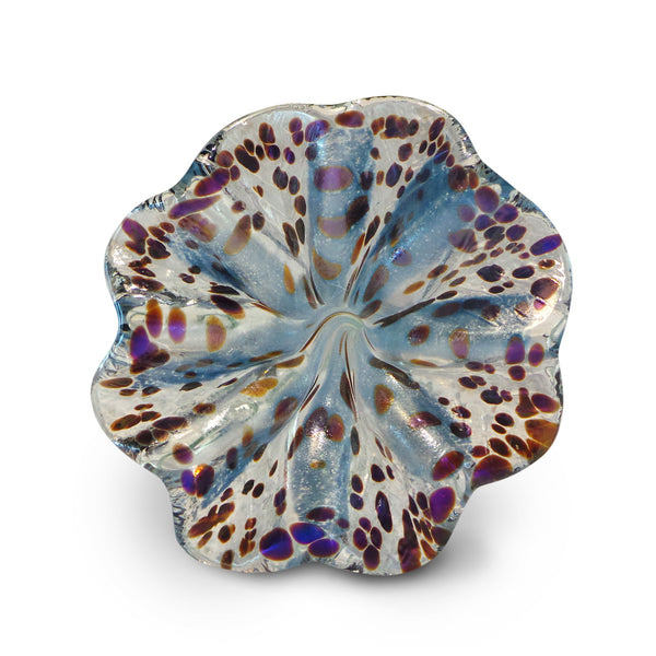 Blue Art Glass Flower with Purple Spots