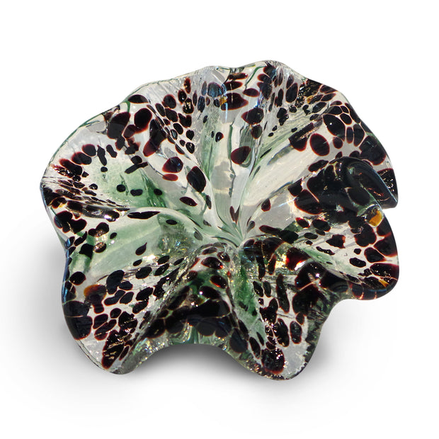 Green Art Glass Flower with Brown Spots 2