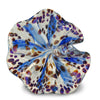 Blue Art Glass Flower with Purple and Brown Spots 3