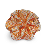 Orange Art Glass Flower with Pink and Orange Spots
