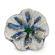 Blue Art Glass Flower with Orange and White Spots