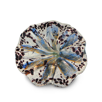 Orange and Blue Art Glass Flower with Brown Spots