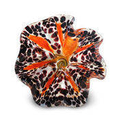 Orange Art Glass Flower with Brown Spots