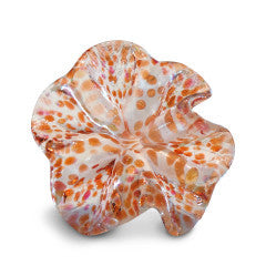 White Art Glass Flower with Pink and Orange Spots 1