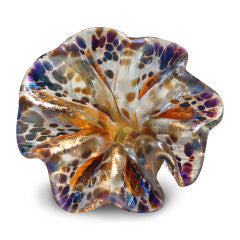 Orange Art Glass Flower with Blue and Purple Spots