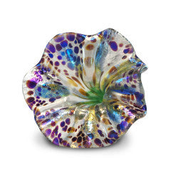 Blue and Yellow Art Glass Flower with Purple Spots