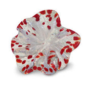 White Art Glass Flower with Red Spots 1