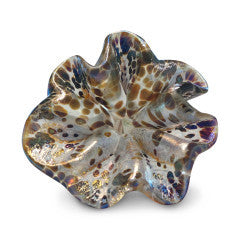 White Art Glass Flower with Brown and Purple Spots 3