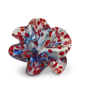 Blue Art Glass Flower with Red Spots
