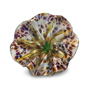 Yellow Art Glass Flower with Purple Spots