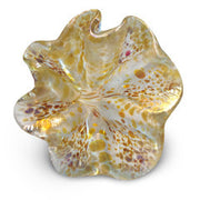 White Art Glass Flower with Yellow and Brown Spots