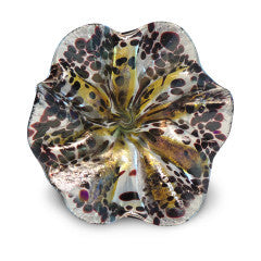 Yellow Art Glass Flower with Brown Spots