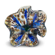 Blue Art Glass Flower with Brown Spots 2
