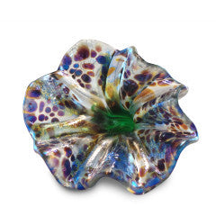 White Art Glass Flower with Brown and Purple Spots 2