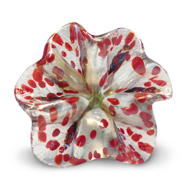 White Art Glass Flower with Red Spots 2