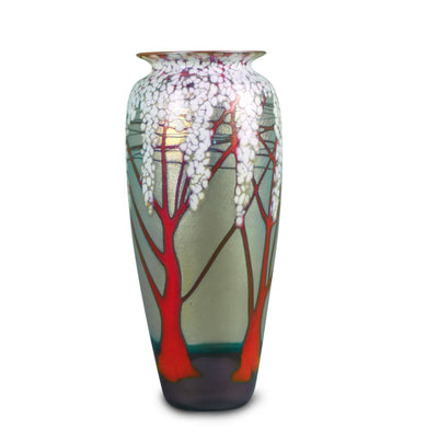 "Gold Cherry Blossom Vase Medium 8""H x 3 1/2""D"