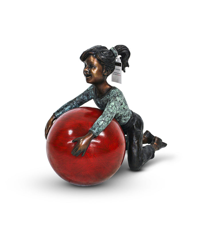 "Girl with Ball - Green/Brown 23""L x 12""W x 18""H"