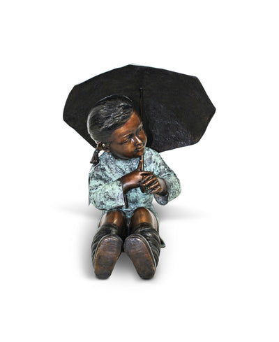 "Girl With Umbrella - Green/Brown 18""L x 16""W x 18""H"