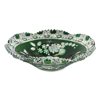 "Green Bowl 172 Meissen Flower with London 10"" Diameter"