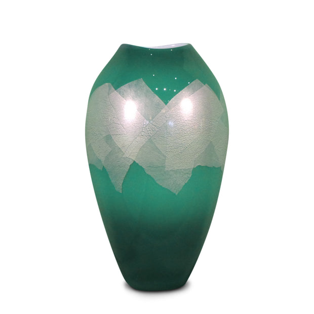 "Green Silver Leaf Small 8"" High"