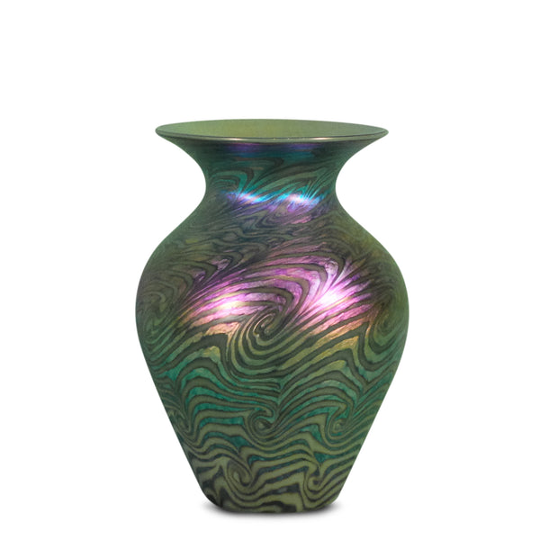"Heart Vase Jade Swirl- 7"" High"