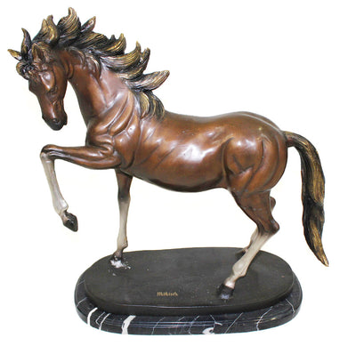 "Horse on Oval Base - Left on Marble Base - Special Patina 18""L x 6""W x 18""H"