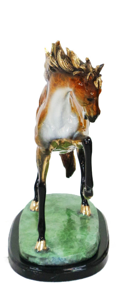 "Horse on Oval Base - Right on Marble Base - Special Patina 21""L x 6""W x 18""H"