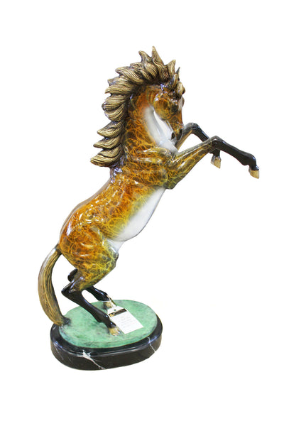 "Horse on Marble Base - Special Patina 20""L x 7""W x 26""H"