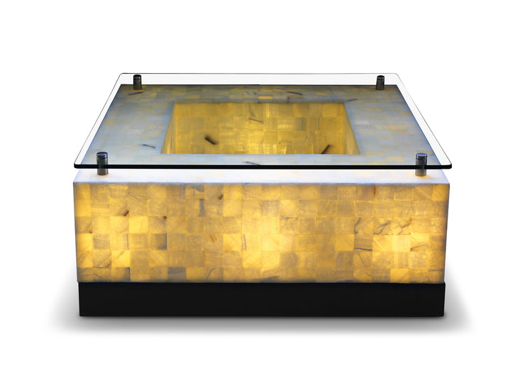 "Onyx Coffee Table Square with Crystal Top 39.25""L x 39.25""W x 17.25""H"