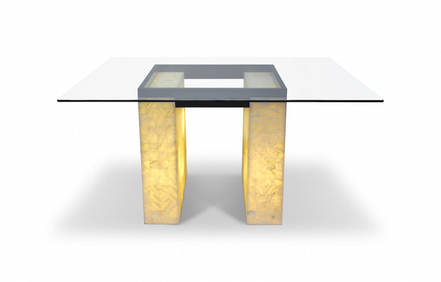 "Onyx Dining Table Two Squares with Crystal Top 55""L x 63""W x 32""H"