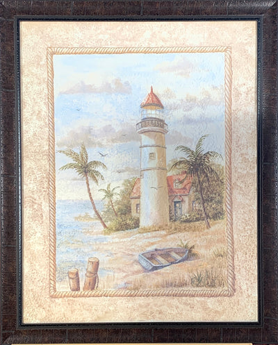 Lighthouse and Canoe Framed Print