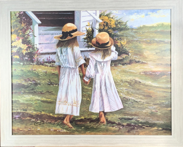 Sisters in the Garden Framed Print