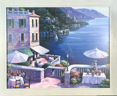 Cafe on the Water Framed Print