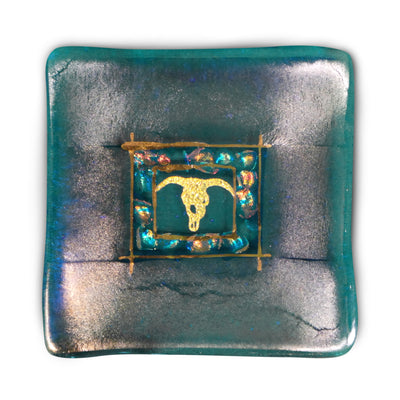 Jewelry Dish with Longhorn, Blue
