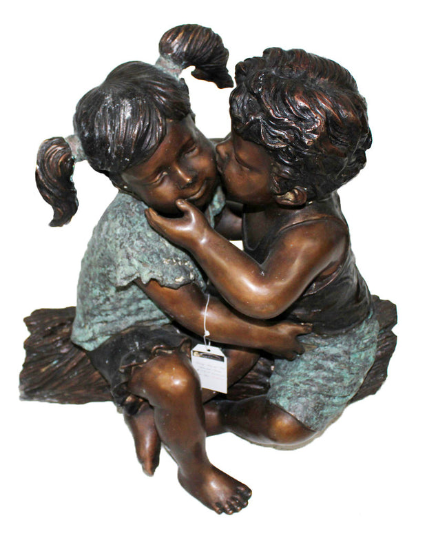 "Kissing Boy and Girl - Green/Brown 19""L x 25""W x 26""H"