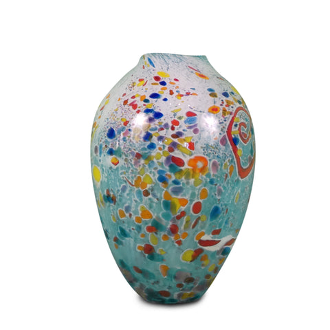 "Large Blue Confetti Aqua Vase 11"" High"