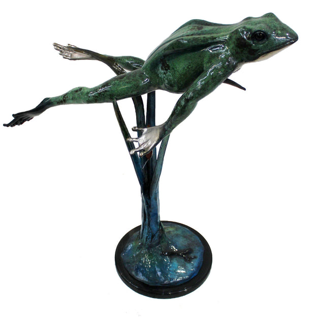 "Large Frog Jumping Up on Marble Base - Special Patina 34""L x 13""W x 31""H"