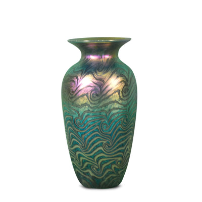 "Large Vase Jade Swirl- 11"" High"