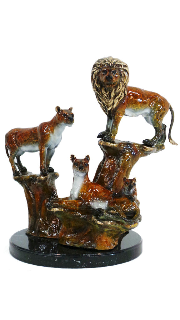 "Lion Family on Marble Base - Special Patina 25""L x 19""W x 24""H"