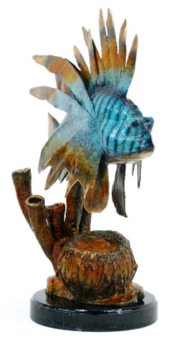 "Lion Fish on Marble Base - Special Patina 20""L x 15""W x 26""H"