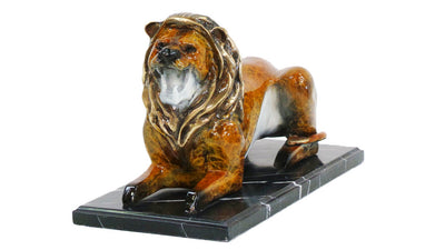 "Lion Lying Down on Marble Base - Special Patina 8""L x 16""W x 11""H"