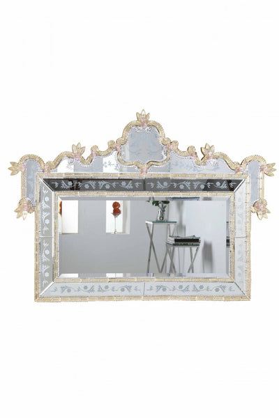 "Clear Mirror, Gold Border with Pink Flower 58""L x 2-3/4""W x 39""H"